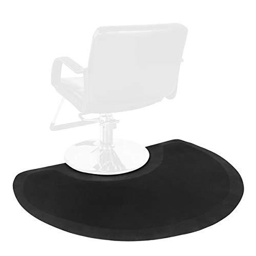 """Barber Chair Mat 4′x3′ Anti-Fatigue Floor Mat Salon Floor Mat- Black Semi Circle Salon Mat - 1/2"""" Thick Office Comfort Floor Mat"""