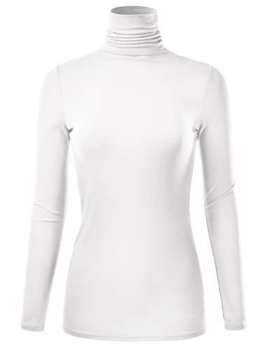 EIMIN Women's Long Sleeve Turtleneck Lightweight Pullover Slim Shirt Top Ivory 1XL