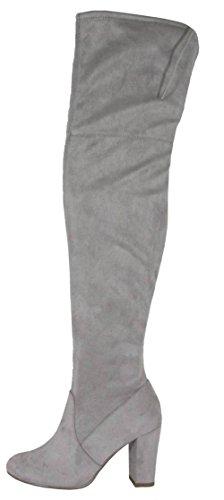 Köstliche Frauen Faux Suede zurück Tie Overknee Chunky High Heel Dress Boot Hellgrau