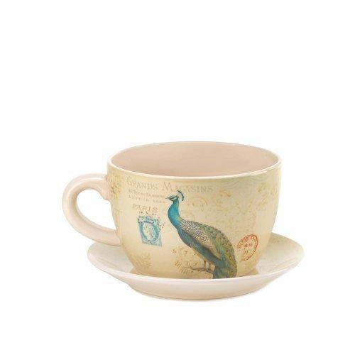 (Koehler Home Decor Peacock Teacup Planter)