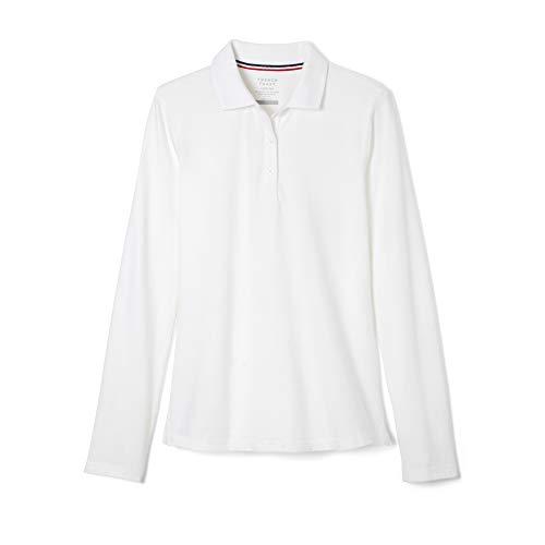 French Toast Girls' Big Long Sleeve Stretch Pique Polo, White, L (10/12) (Shirts Sleeved Uniform Long Girls)