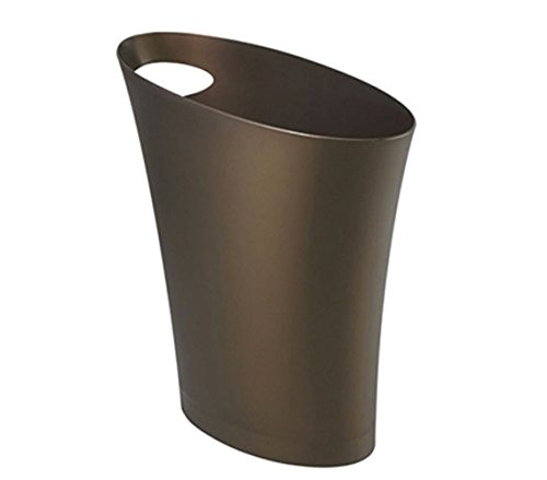Umbra Skinny Trash Can  Sleek & Stylish Bathroom Trash Can, Small Garbage Can Wastebasket for Narrow Spaces at Home or Office, 2 Gallon Capacity, Bronze