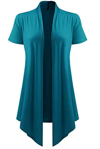 lymanchi Women Open Front Cardigan Short Sleeve Drape Hem Soft Summer Cover Ups 88 Blue 3X