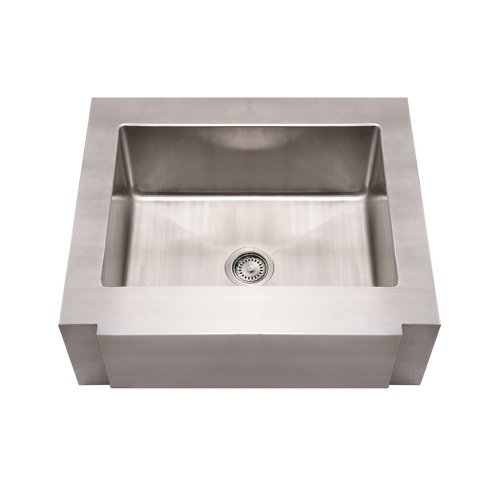 Whitehaus WHNCMAP3026-BSS Noah's Collection 30-Inch Commercial Single Bowl Sink with a Decorative Notched Front Apron, Brushed Stainless Steel ()