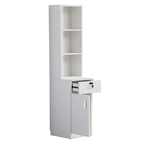 BarberPub Locking Wall Mount Hair Styling Barber Station Drawer Storage Beauty Salon Spa Equipment (White) from BarberPub