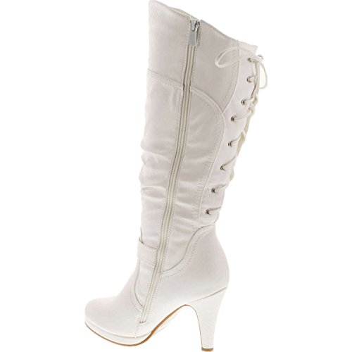 TOP Moda Womens Page-65 Knee High Round Toe Lace-Up Slouched High Heel Boots (8.5, White)