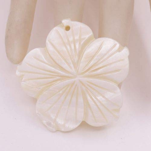 Flower Shell Natural White Mother of Pearl Pendant Jewelry Making Top Hole 50mm