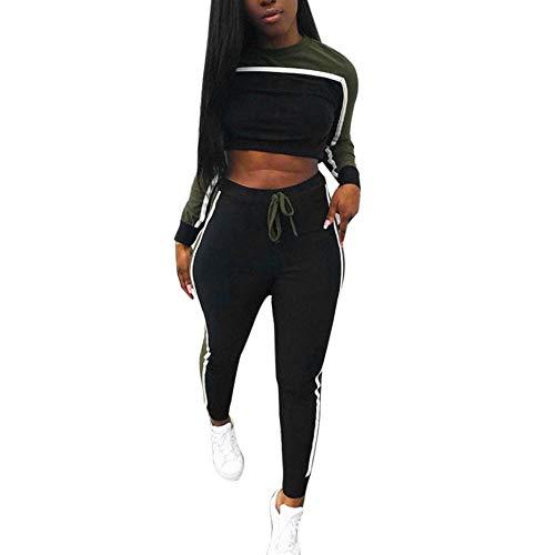 Toimoth 2Pcs Women Sport Tracksuit Sweatshirt Pants Sets Long Sleeve Wear Casual Suit(Army Green,XL)
