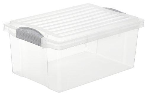 Rotho Aufbewahrungsbox COMPACT mit Deckel, Lagerbox transparent aus Kunststoff im DIN A4 Format, Inhalt 13 Liter, Plastik Box ca. 39,5 x 27,5 x 18 cm
