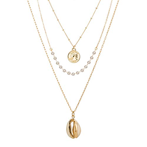 Monade Gold Layered Coin Pendant Adjustable Chain Necklaces/Sea Shell Pendant Chokers Necklaces Jewelry for Women and - Seashell Coin