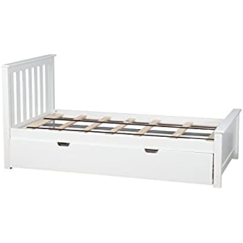 max u0026 lily solid wood fullsize bed with trundle bed white