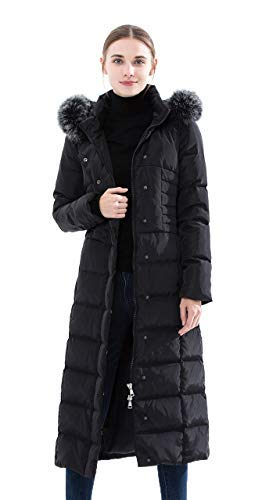 Obosoyo Women's Hooded Thickened Long Down Jacket Maxi Down Parka Puffer Coat Black ()
