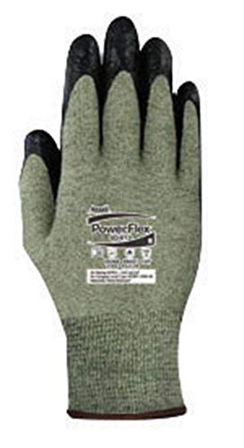 (Ansell Edmont 80-813-6 Neoprene PowerFlex Foam Dipped Palm Coated Work Gloves with Yellow and Gray Kevlar, Glass Core Yarn Knit Liner, Size 6, Black)
