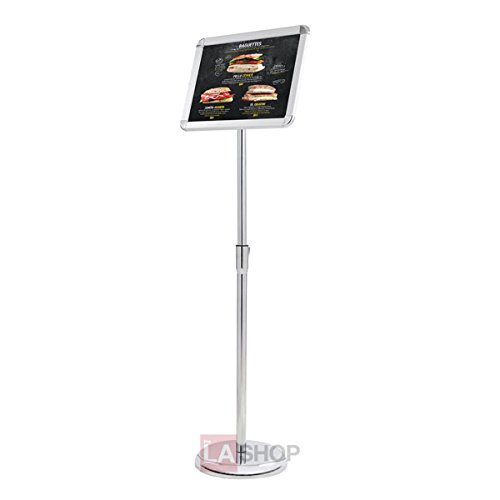 "Professional 8.5 x 11 Inches Floor Pedestal Poster Retractable Rollup Banner Stand Holder Adjustable Trade Show Signage Display w/ 10""Dia. for Retail Stores Restaurants Graphics Menus from Generic"