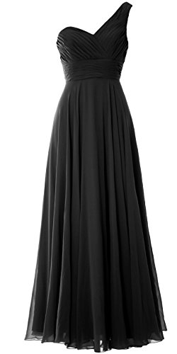MACloth Women One Shoulder Long Bridesmaid Dress Wedding Party Evening Gown Negro