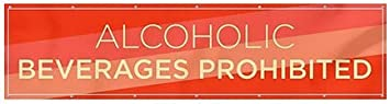 Modern Diagonal Heavy-Duty Outdoor Vinyl Banner Alcoholic Beverages Prohibited CGSignLab 12x3