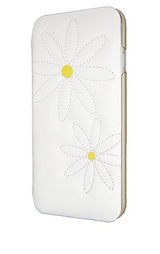 Uunique matelassé-Marguerites Blanc Folio pour iPhone 6
