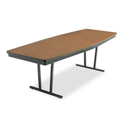 Economy Conference Folding Table, Boat, 96w x 36d x 30h, Walnut/Black, Sold as 1 Each