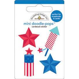 DOODLEBUG Stars & Stripes Doodle-Pops Embellished 3-D Stickers-Fire ()