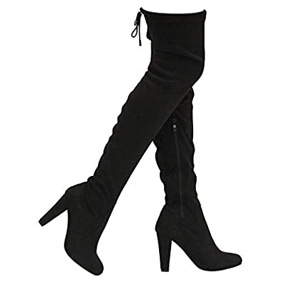 MVE Shoes Women's Forever Stacked Chunky Heel Stretch Thigh High Pull On Boot | Over-the-Knee