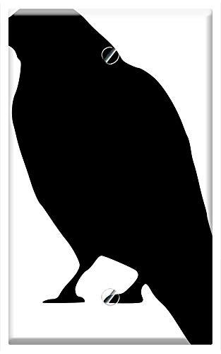 Single-Gang Blank Wall Plate Cover - Crow Black Silhouette Bird Halloween Raven Dark ()
