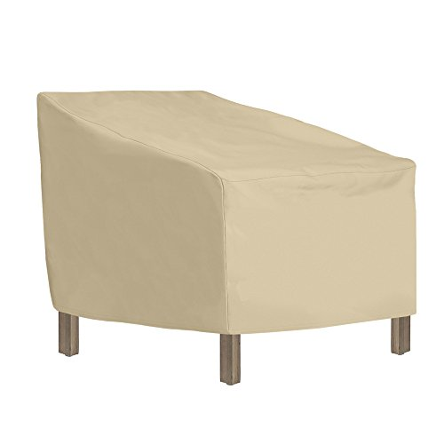 SunPatio Outdoor Lounge Chair Cover, Heavy Duty Waterproof Club Chair Cover, Patio Furniture Cover 34 L x 37 W x 36/25H, Durable and All Weather Protector, Beige