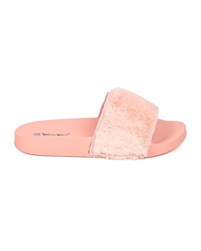 Alrisco Kvinner Skli På Flat Sandal - Lodne Lysbilder - Fuzzy Såle Sandal - Hb04 Av Natur Bris Samling Rosa Fuskepels