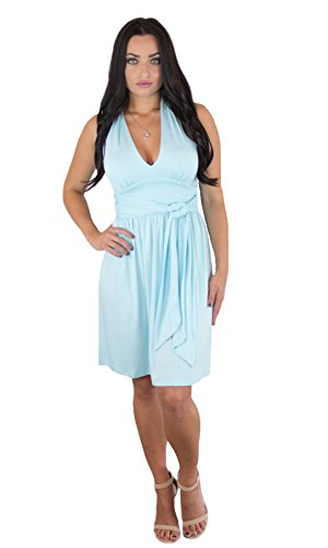 (Charm Your Prince Women's Summer Sky Blue Halter Top Sundress XL)