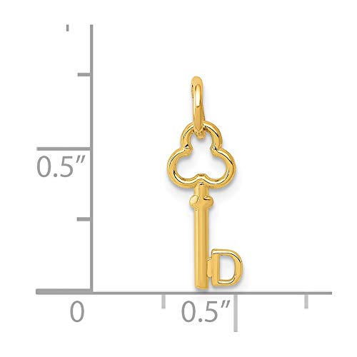 14k Yellow Gold D Key Charm Pendant