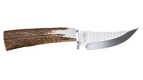 Skinner Stag Handle (Silver Stag Elk Stick Skinner Fixed Blade D2 Tool Steel Antler Handle)