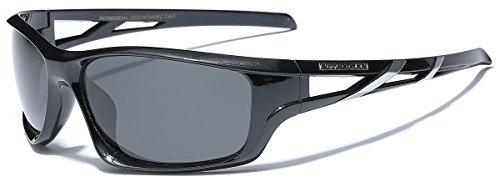 L-XXL Polarized Oversized Big Sport Wrap Around Sunglasses - Black & Silver