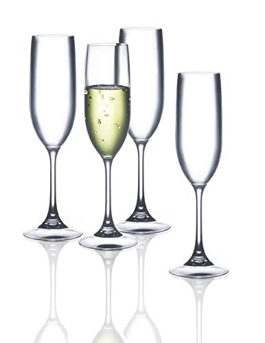 FDCuvée Set of 4 Drama Free Unbreakable Stemmed Champagne Flute | 100% Tritan | Dishwasher safe - 5 oz | Odorless | BPA Free | Not Glass Material | Indoor/Outdoor | Parties & Camping (Wine Herbal Merlot)