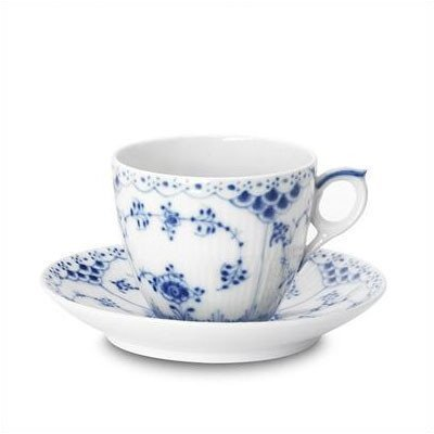 Royal Copenhagen Blue Fluted Half Lace 5.75 oz. Cup and Saucer Blue Fluted China