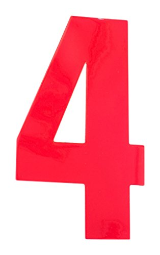 Bulk Hardware BH04979 High Visibility Self Adhesive Plastic Reflective Mailbox, House Wheelie Bin Number 4, 150mm (6 inch) - Red
