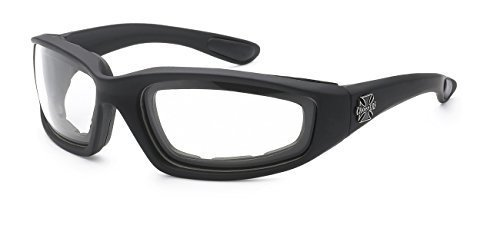 Choppers Gangster Mens Women Biker Cycling Padded Motorcycle Goggles Glasses (Clear Lens)