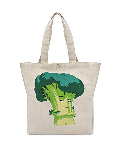 Greenced Heavy Duty Canvas Tote Bag with Inner Pocket 100% Recycled Cotton Large Great for Grocery, Shopping, Beach (Broccoli)