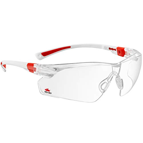 NoCry Safety Glasses with Clear Anti Fog Scratch Resistant Wrap-Around Lenses and Non-Slip Grips, UV Protection. Adjustable, White & Red Frames -