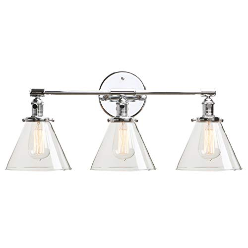 Permo Vintage Industrial Antique Three-Light Wall Sconces with Funnel Flared Clear Glass Shade (Chrome)