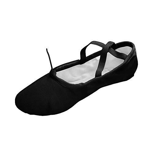 Sole Danse Chaussures Yoga Ballet Noirs Flats Toile Split De Adultes Gymnastique Enfants Pour Et xXtx56wZq