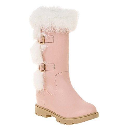 Show Shine Womens Buckles Platform Hidden Heel Snow Boots Pink RXpRjXx