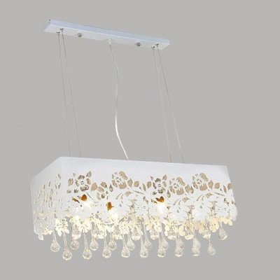 hua Pendant Light Adorned with Flower Motif Shade and Clear Crystal Drops Creating Fashion Touching