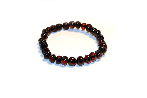 Baltic Amber Bracelets for Adults Made on Elastic Band - 7 inches - Amber Jewelry - Hand-Made from Polished Baltic Amber Beads (Cherry) (Bracelet Amber Shape)