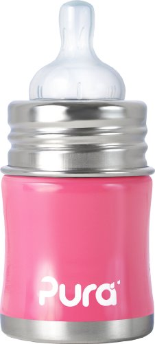Pura Kiki Stainless Infant Bottle Stainless Steel with Natural Vent Nipple, 5 Ounce, Pretty Pink, 0-6 Months+, Baby & Kids Zone