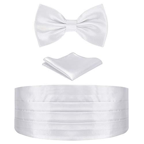 HDE White Cummerbund, Bow Tie, Pocket Square for Men Satin Tuxedo Set
