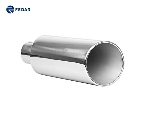 Rolled 4 Inlet End - Fedar 4'' Inlet 7'' Outlet 18'' Long Rolled End Angle Cut Exhaust Tailpipe Tip