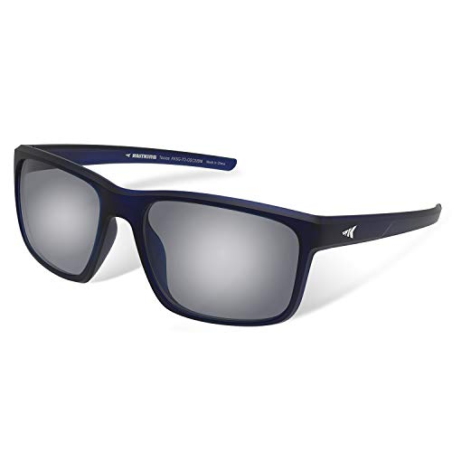 KastKing Toccoa Polarized Sport Sunglasses, Matte Midnight Blue Crystal Frame, Smoke Base White Steel Mirror (The Best Sunglasses For Men)