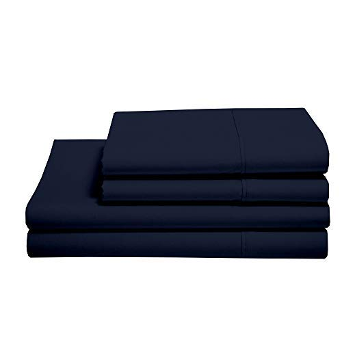 100% Cotton Sheets - Real 800 Thread Count Queen 4 Piece Bed Sheet Set - Soft & Smooth Hotel Luxury 4pc Sheet Set Solid 15 inches Deep Pocket (Queen, Navy Blue)