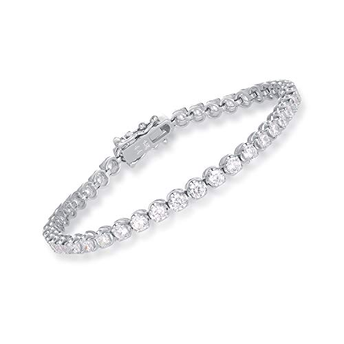 SHKA 925 Sterling Silver Plated Tennis Bracelet Princess Round Cut Brilliant White 3mm CZ Crystals, 18K White Gold Plated Tennis Bracelets with Cubic Zirconia Stones (3 Bracelet Sterling Silver Stone)