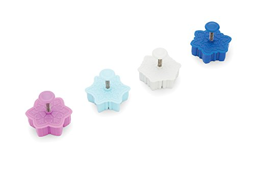 Fox Run 48741 Intricate Assorted Winter Snowflake Pastry/Cookie/Pie/Fondant 2 Stamper and Cutters, Set of 4, Multi-Color