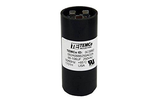 TEMCo Motor Start Capacitor SC0062-88-106 mfd 220-250 V VAC Volt 88-106 uf Round HVAC AC - Mfd Capacitor 250vac